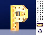 Letter P From Alphabet. Glowing Letter P. Bulb Type P. 3d Illuminated Light Bulb Symbol Letter P. Re poster