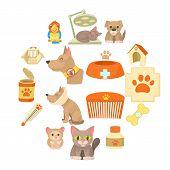 Veterinary Clinic Items Icons Set. Cartoon Illustration Of 16 Veterinary Clinic Items Vector Icons F poster