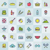 Picnic And Barbecue Modern Web Icons. Set Of Colorful Outline Symbols On Square Buttons For A Summer poster