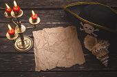Blank Crumpled Paper Page With Copy Space For Pirate Treasure Map On Captain Table With Pirate Hat,  poster