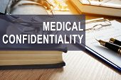 Medical Confidentiality. Documents With Personal Information In A Clinic. poster