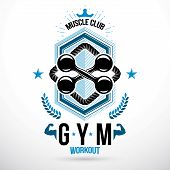 Vector Barbell Fitness Equipment, Fitness Workout And Weightlifting Gymnasium Conceptual Emblem poster