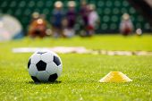 Soccer Training Equipment On A Sports Field. Football Ball And Pylon Disc Cones On A Grass Pitch. Yo poster