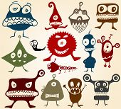 stock photo of ogre  - Many cute doodle monsters Set 2 - JPG