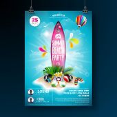 Vector Summer Beach Party Flyer Design With Typographic Elements On Surf Board. Summer Nature Floral poster