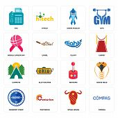 Set Of 16 Simple Editable Icons Such As Compas, Steak House, Centurion, Passport Stamp, Snake Head,  poster