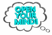 Open Your Mind New Fresh Thinking Thought Cloud Words 3d Illustration poster