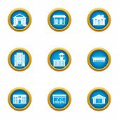 Cultural Building Icons Set. Flat Set Of 9 Cultural Building Vector Icons For Web Isolated On White  poster