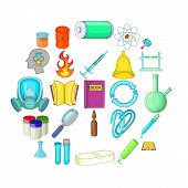 Chemical Experiment Icons Set. Cartoon Set Of 25 Chemical Experiment Vector Icons For Web Isolated O poster