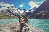 Feet Selfie Traveler Relaxing With Lake And Mountains View On Background Lifestyle Hiking Travel Con poster