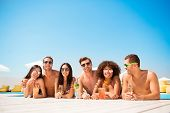 Six Friendly Multi Ethnic Hot Teens In Diverse Swim Wear And Spectacles Are Chatting In The Pool, Su poster