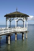 stock photo of foreshortening  - gazebo on lake promenade on bodensee shore - JPG