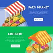 Street Farm Market Food Stand With Canopy. Portable Vendor Booth With Fresh Fruits And Vegetables Is poster
