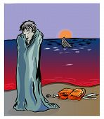 Civil War In Syria And Refugees Problem.   Unhappy Syrian Refugee On The Coastline. Syrian Refugee A poster