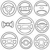Vector Set Of Steering Wheels Hand Drawn Cartoon poster