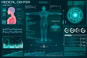 Hud Element Ui Medical Examination. Display A Set Of Virtual Interface Elements. Health Technology V poster