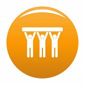 Strong Teamwork Icon. Simple Illustration Of Strong Teamwork Vector Icon For Any Design Orange poster