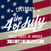 Happy 4th Of July Design In Retro Style. Fourth Of July Greeting Card On The American National Flag  poster