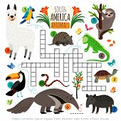 American Animals Crossword. South America Kids Cross Word Search Puzzle Game With Llama And Toucan,  poster