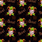 Seamless Pattern With Scary Evil Jokers Faces On The Black Background. Vector Texture poster