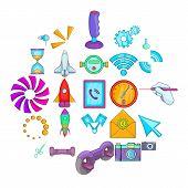 Progressive Technology Icons Set. Cartoon Set Of 25 Progressive Technology Vector Icons For Web Isol poster