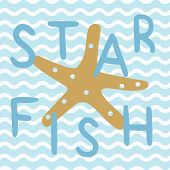 Star Fish In Blue Nautical Ocean Poster. A Playful, Modern, And Flexible Print For Brand Who Has Cut poster