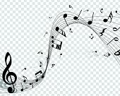 Musical Designs With Elements From Music Staff , Treble Clef And Notes In Black And White. Vector Il poster