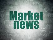 News Concept: Painted Green Text Market News On Digital Data Paper Background With   Hand Drawn News poster