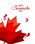 Happy Canada Day Vector Holiday Background With Red Paper Cut Canada Maple Leaf. 1th Of July Celebra poster