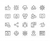 Simple Set Of Social Networks Related Vector Line Icons. Contains Such Icons As Profile Page, Rating poster