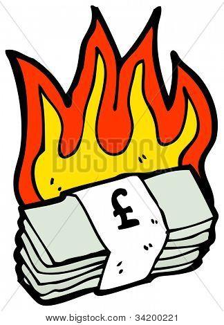 cartoon burning money
