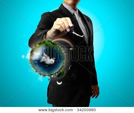 Business man drawing air and earth