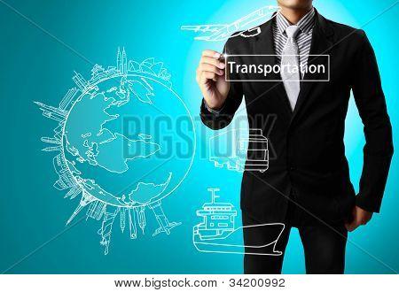 Hombre de negocios, transporte de dibujo