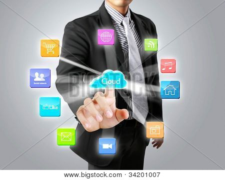 hand pushing on touch screen social network structure