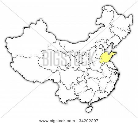 Map Of China, Shandong Highlighted