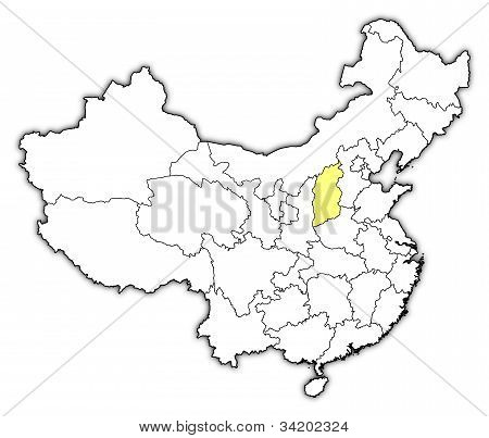 Map Of China, Shanxi Highlighted