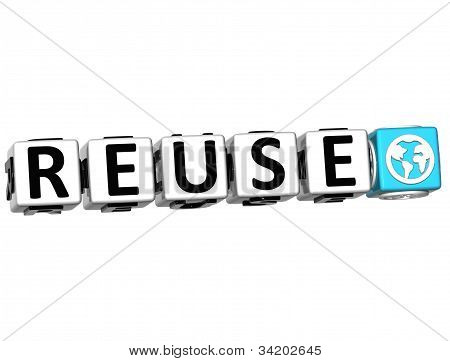 3D Reuse Button Click Here Block Text