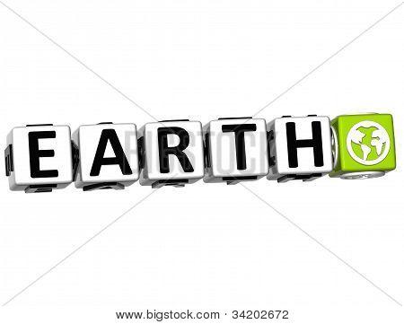 3D terra botão Clique aqui bloco de texto