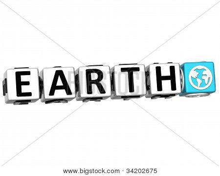 3D Earth Button Click Here Block Text
