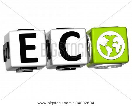 3D Eco Button Click Here Block Text