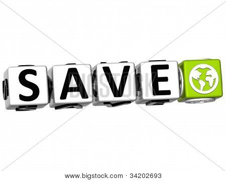 3D Save Button Click Here Block Text