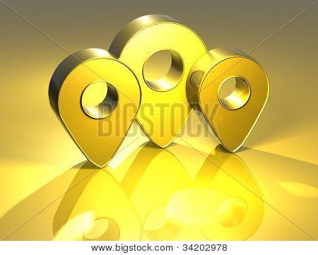 3D Map Pins Gold Sign