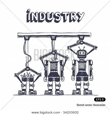 Factory is making robots
