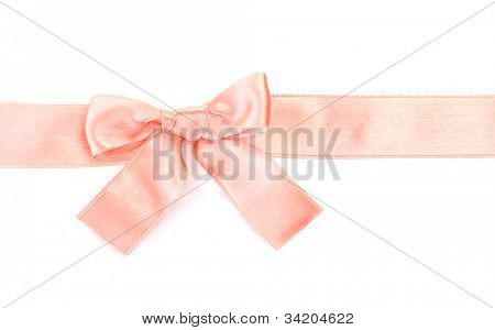 beautiful orange satin bow and ribbon isolated on white