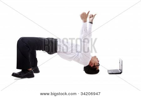Attractive Businessman Break Dancing
