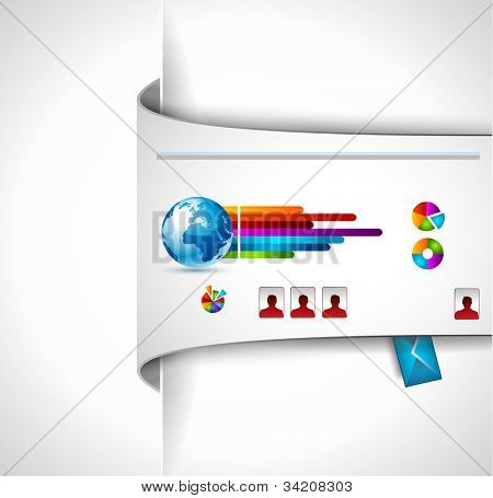 Modern web templave with paper style background and transparent shadows. Ideal for business website with a lot of infographic charts elemenets.