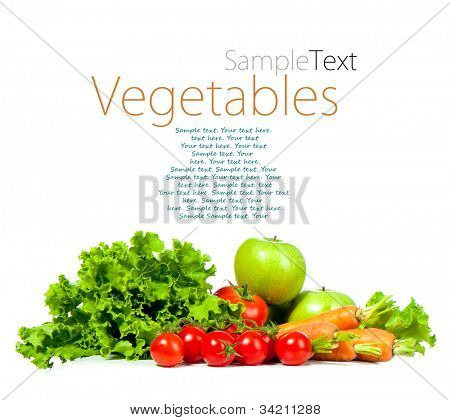 ripe vegetables isolated on white background with sample text