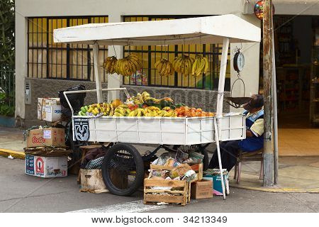 Fruit Street Vendor in Lima, Peru