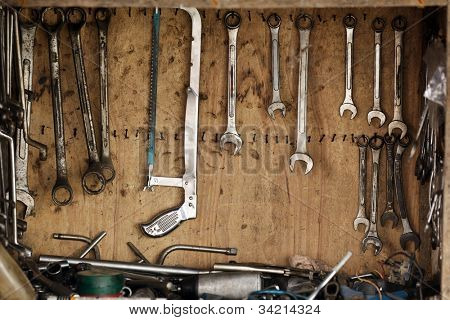 wrenches on handtools board