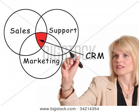 Weibliche executive-Zeichnung-Customer Relationship Management (CRM)-Diagramm